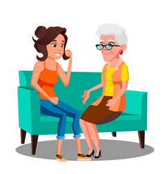 Adult woman talking to her mature mother on the vector