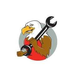 American Bald Eagle Mechanic Wrench Circle Cartoon vector image vector image
