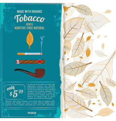 background with tobacco leafs vector image
