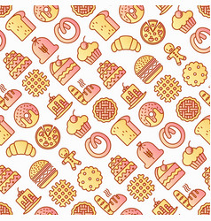 bakery seamless pattern with thin line icons vector image