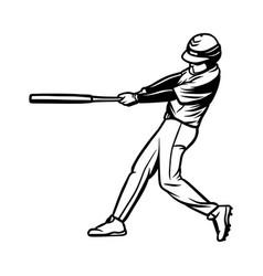 Baseball player hit ball black white vector