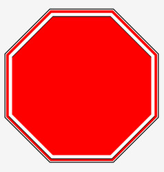 Blank stop sign blank red octagonal prohibition vector