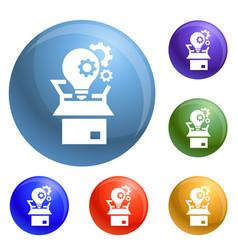 bulb gear box icons set vector image