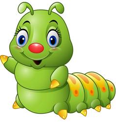 Cartoon green caterpillar vector