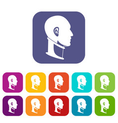 Cervical collar icons set flat vector
