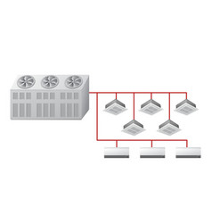 Chiller with ceiling cassette and wall indoor vector