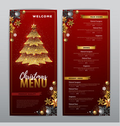 Christmas menu design with golden christmas tree vector