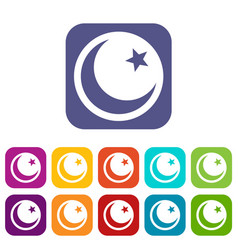 Crescent and star icons set vector