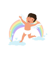 cute happy baby cupid character jumping on clouds vector image