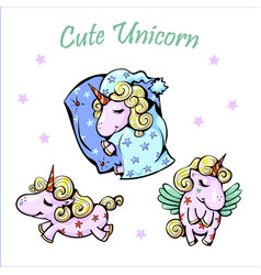 cute unicorns sleeping shy vector image