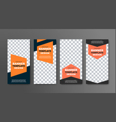 design of vertical banners in black with a place vector image