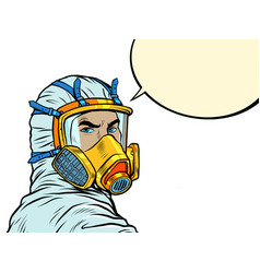 Doctor in full face mask respirator vector