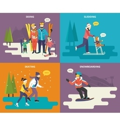 family with kids concept flat icons set winter vector image