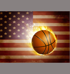 Flag of united states with basketball vector