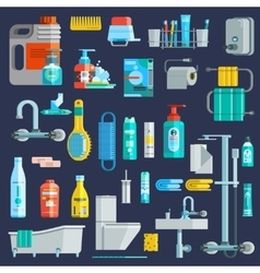 Flat Colored Hygiene Icons Set vector