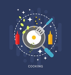 Flat Style with Kitchen Appliances and Food Fried vector image