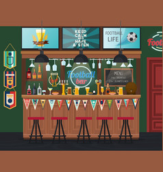 Football pub or soccer bar with tv alcohol drinks vector