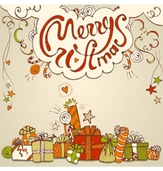 Gift box collection with merry christmas lettering vector