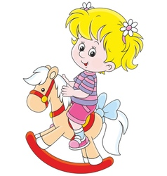 Girl and toy horse vector