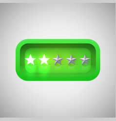 Glowing green star rating in a realistic shiny box vector