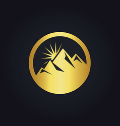Gold mountain abstract icon logo vector