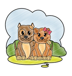 grated dog couple cute animal in the landscape vector image