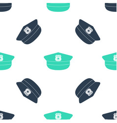 Green police cap with cockade icon isolated vector