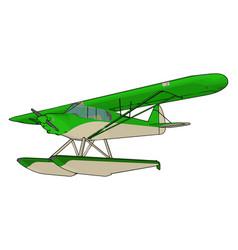 Green seaplane on white background vector