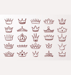 hand drawn crown set sketch queen or king beauty vector image