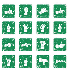 Hand gesture icons set grunge vector
