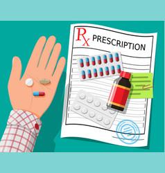 hand prescription rx pills capsules for illness vector image