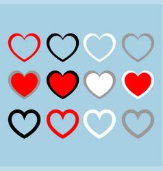 heart set red black white grey color set vector image