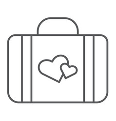 honeymoon thin line icon briefcase and love vector image
