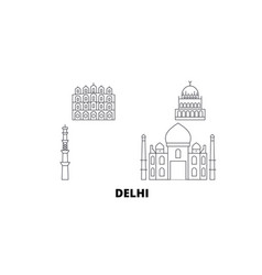 india delhi city line travel skyline set india vector image