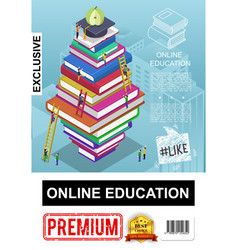 Isometric online education poster vector