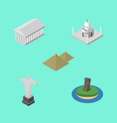 isometric travel set of egypt rio chile and vector image