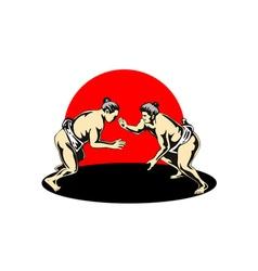 Japanese Sumo Wrestlers Fighting vector