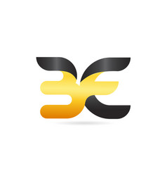 joined or connected be b e yellow black alphabet vector image