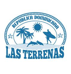 las terrenas stamp or label vector image