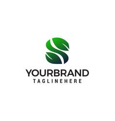 letter s leaf logo design concept template vector image