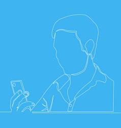 man using a smartphone line drawing vector image