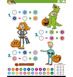 Math addition and subtraction task with kids vector