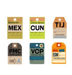 Mexico city cancun tijuana puerto montt campinas vector