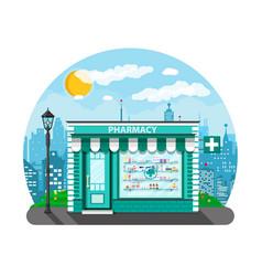 Modern exterior pharmacy or drugstore vector