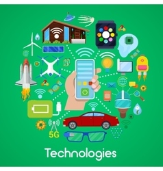 Modern Technologies Icons Set with Smart House vector image