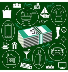 Money and Shopping icons vector