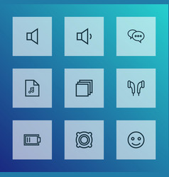 music icons line style set with emoji earmuff vector image