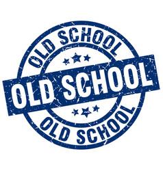 old school blue round grunge stamp vector image