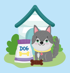 pet shop cute puppy sitting with food and house vector image