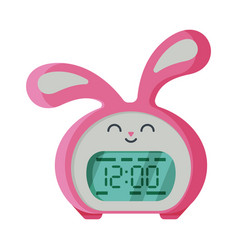 pink digital alarm clock rabbit shape modern vector image